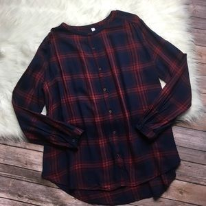 Gentle Fawn Blue & Red Plaid Button Up Tunic